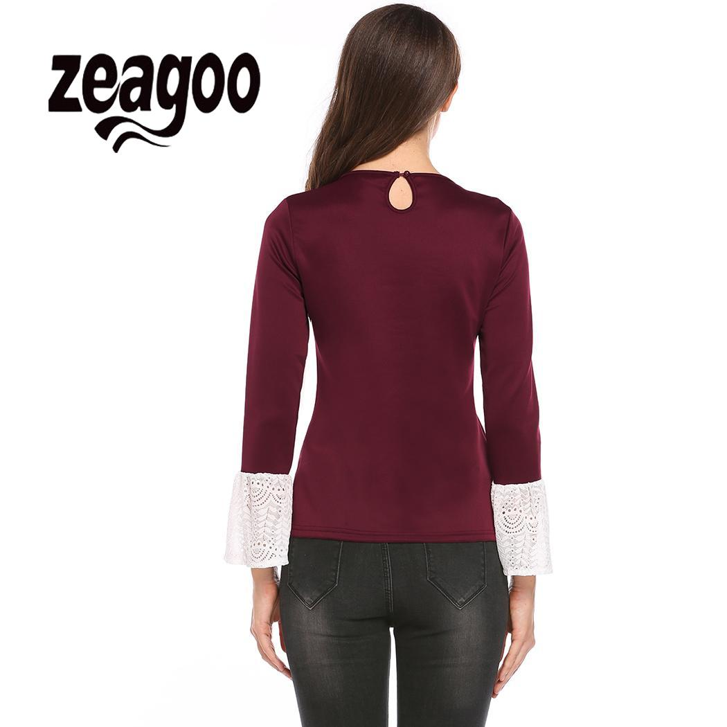 None Keyhole Lace Flare Long Sleeve Women Casual Slim Fit