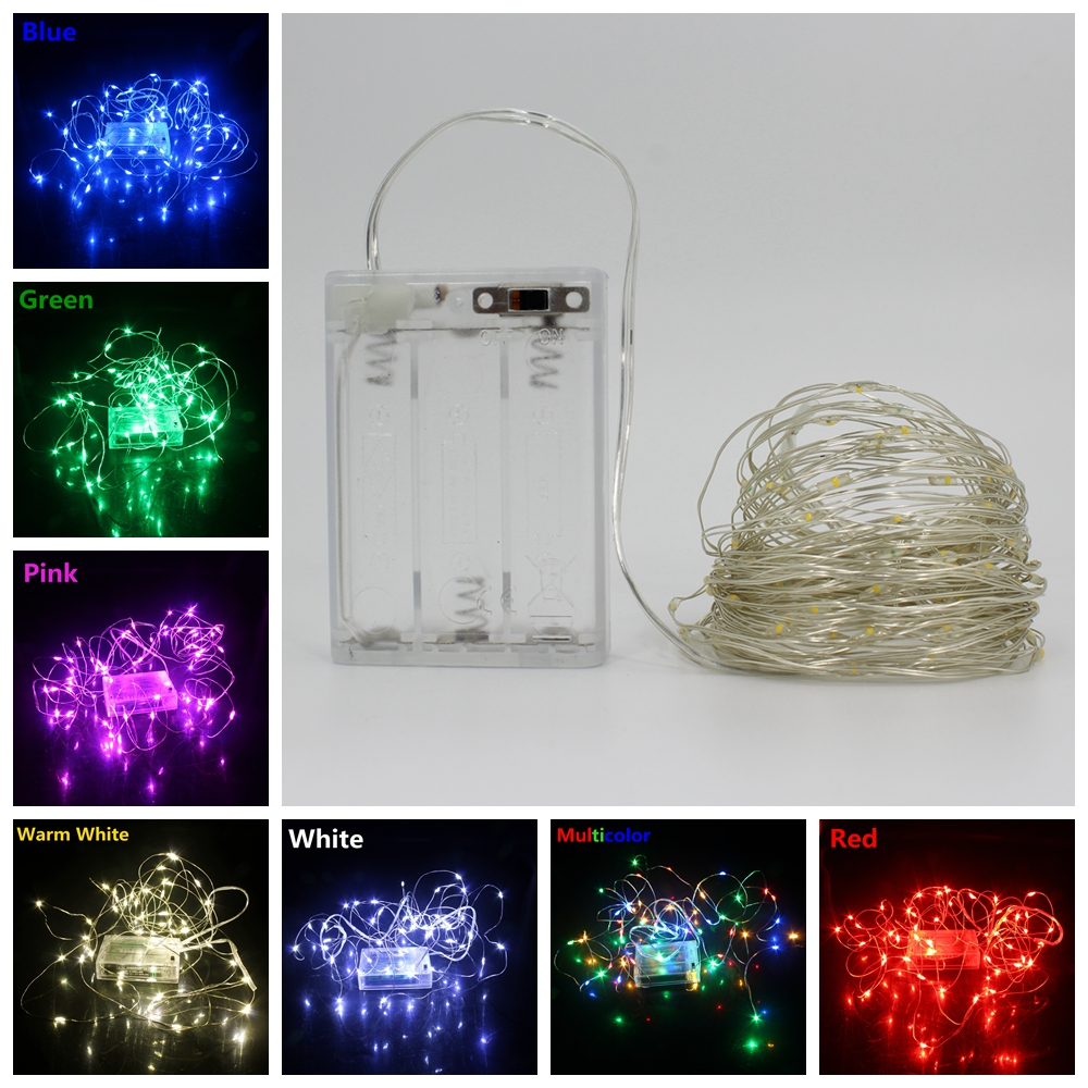 2/5/10M Led Copper Wire String Lights Romantic Wedding Fairy Light Decoration AA Battery Operated Indoor Garland Christmas Decor