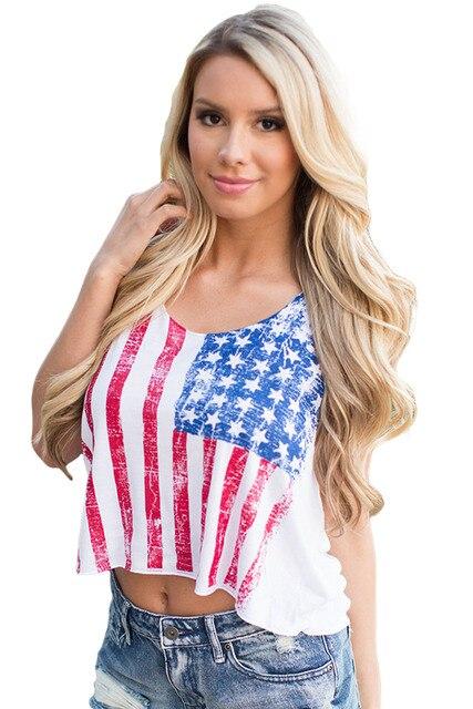 2017 Tanque Das Mulheres Top Colete Camisa Impressa Star Spangled Orgulho LC25859 Cropped Tanque Colheita Top Clubwear Para O Verão Feminino