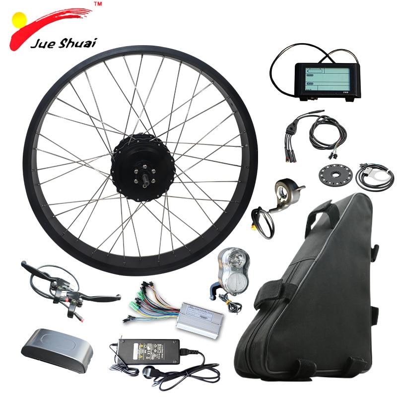 "26"" 4.0 Fat Tire Bike Electric Bike Kit with 48V 20ah Lithium Battery Fat Bike Rear Motor Wheel Electric Complete Ebike Kit"