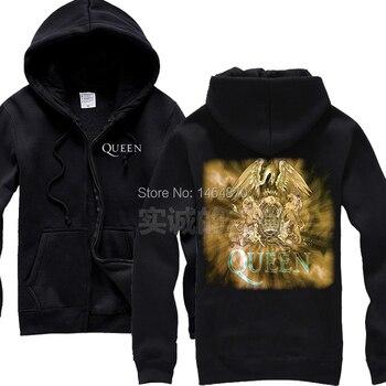 Fashion 3D Queen Band high quality 100%Cotton Sweatshirt Rock Hoodies Winter jacket brand punk hardrock Black metal  Gold