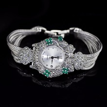 Hot Sale Women Classic Pure Silver Bracelet Watch S925 Silver Bracelet Watch Silver Jade Bracelet Watches Real Silver Bangle