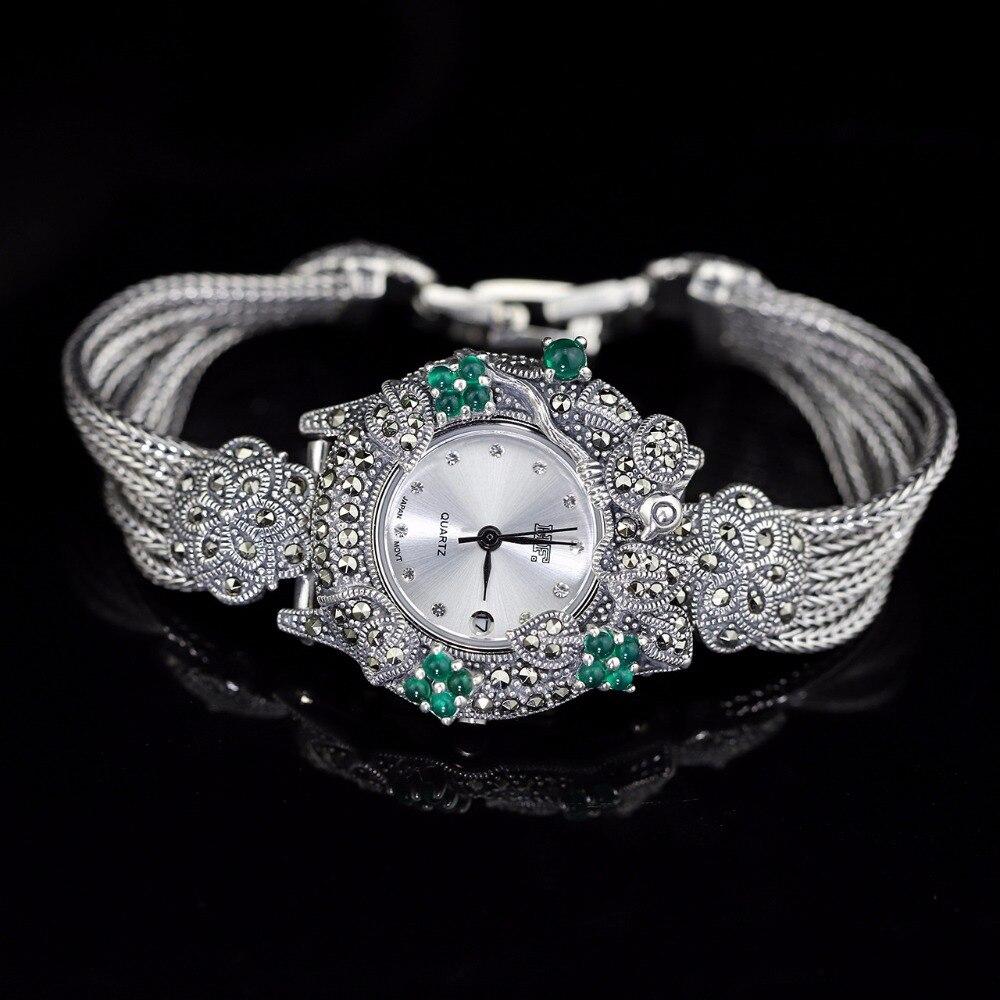 Hot Sale Women Classic Pure Silver Bracelet Watch S925 Silver Bracelet Watch Silver Jade Bracelet Watches Real Silver Bangle