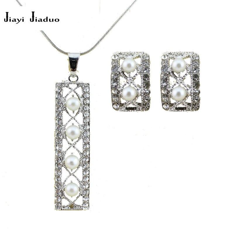 Brautschmuck Sets FäHig Jiayijiaduo Afrikanische Frauen Von Hochzeit Silber-farbe Schmuck Set Imitation Perle Halskette Ohrringe Hochzeit Kleid Party Großhandel