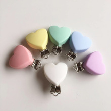 Chenkai 10PCS BPA Free Silicone Heart Baby Pacifier Dummy Teether Chain Holder Clips DIY Soother Nursing Toy Accessory Clips