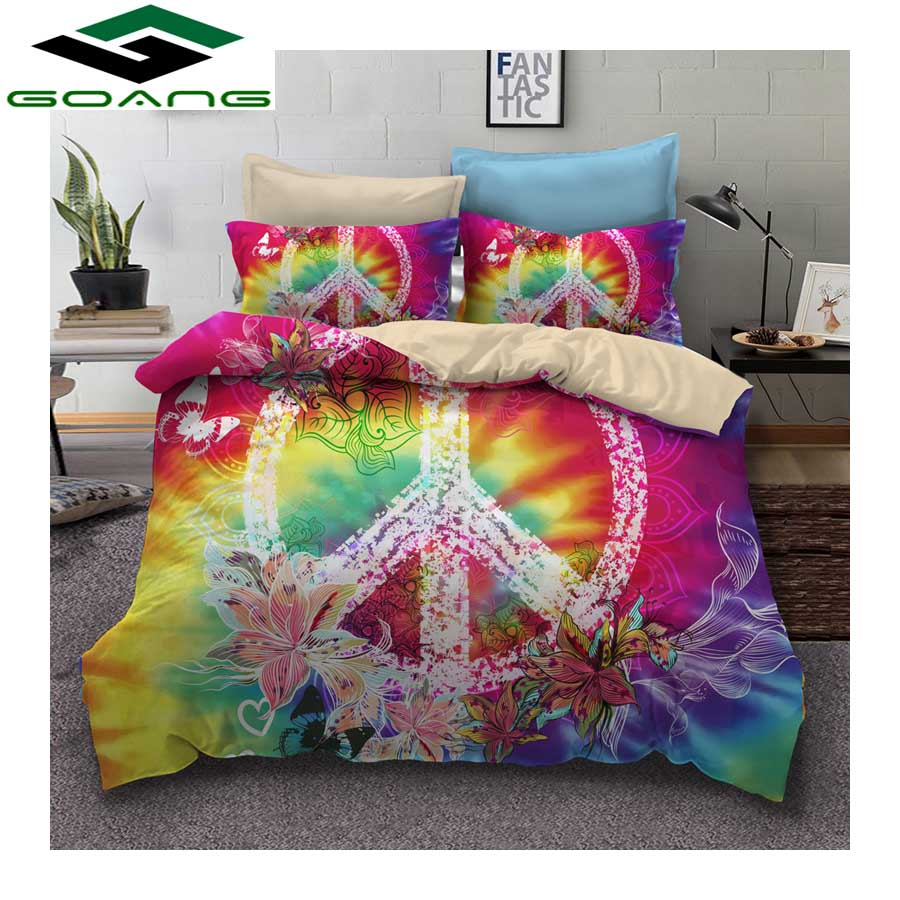 GOANG Bedding Set hippie peace symbol 3pcs Family Set Include Bed Sheet Duvet Cover Pillowcase hot sell home textile products