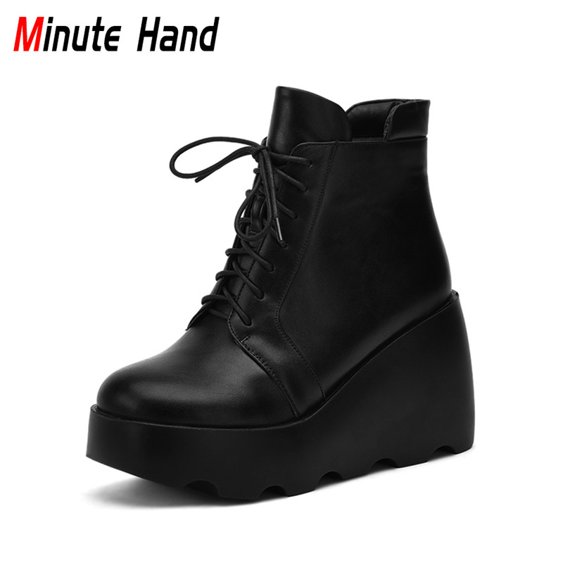 Minute Hand New Fashion Woman Wedge Platform Ankle Boots Lace Up High Heel Female Casual Shoes Warm Winter Boots Side Zipper phyanic platform gladiator sandals 2017 new casual wedge shoes woman summer women ankle boots side zipper party shoes phy5036