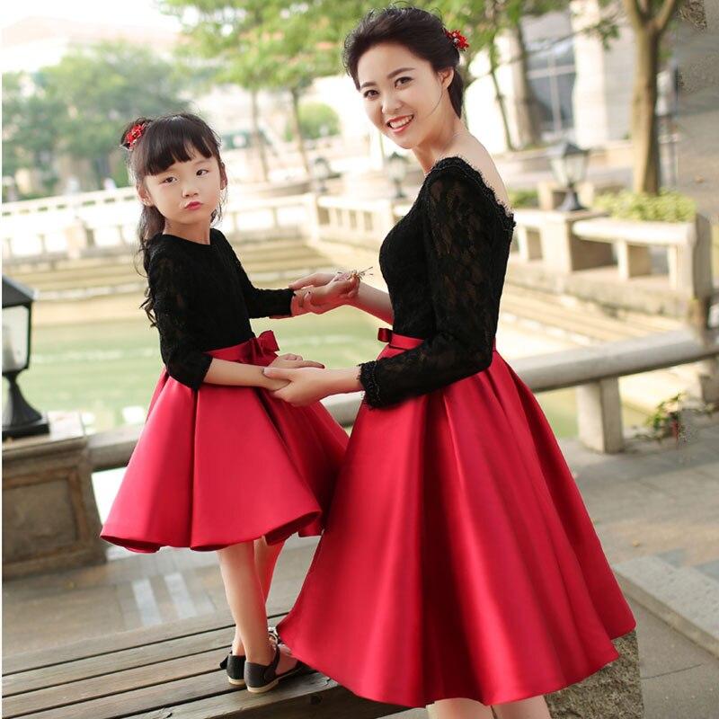 Robe bébé fille manches longues nœud tutu robe princesse robes de bal mère et fille robes dentelle fête famille correspondant vêtements - 3