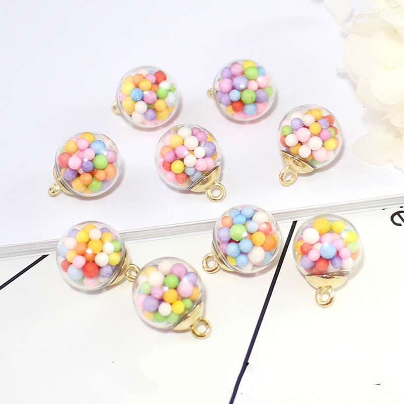 10pcs 16mm Colorful Candy Bubble Transparent Glass Ball Charms Acrylic Pendant Finding Fit Earring Hair Jewelry AccessoriesYZ397