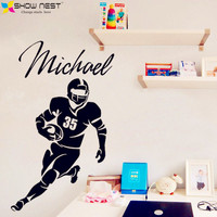 American Football Player Vinyl Decal Custom Name And Number Wall Sticker Home Decor Kids Boys Bedroom