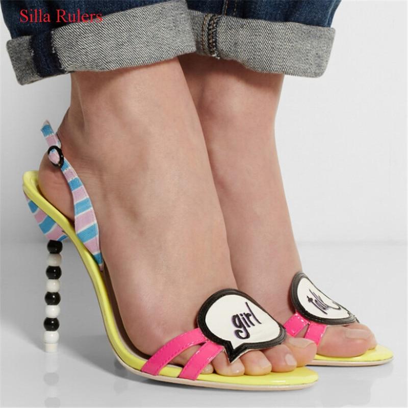 Mode boucle sangle perlée talons hauts femmes sandales marque de luxe couleur mélangée gladiateur sandales femmes chaussures femme Sandalia Mujer