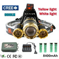 White light yellow light 10000 lumens 3T6 LED Headlamp headlights CREE XML T6 front head lamp 18650 Rechargeable Battery Hunting
