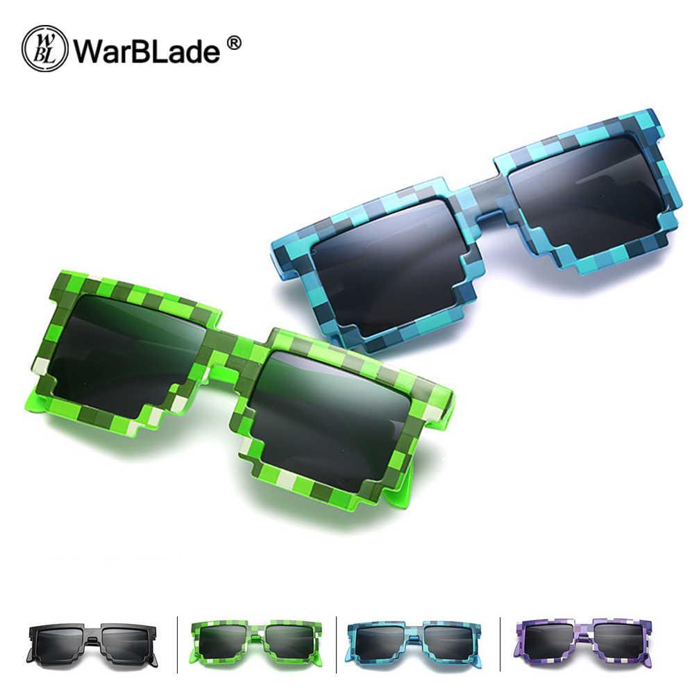 WarBLade نظارات 8 بت بكسل النساء الرجال النظارات الشمسية الإناث الذكور فسيفساء نظارات شمسية الاطفال الفتيان الفتيات خمر 2018 جديد