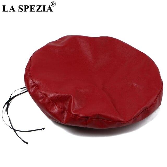 LA SPEZIA Red Beret Hat Women Leather Painters Hat Ladies Solid Sweet Cute Autumn Casual Classic French Artist Cap Berets Black