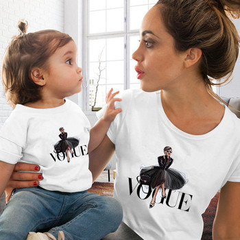 Fashion Family Matching Clothes Outfits Look Mother Daughter VOGUE Princess Tshirt Clothing Mommy and Me T-shirt - discount item  35% OFF Children's Clothing
