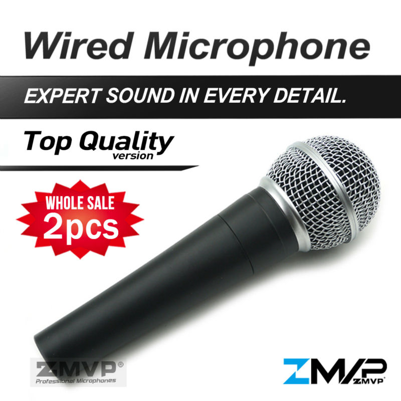 Free Shipping! 2pcs Top Quality Version S 58 LC Professional Karaoke Handheld 58LC Wired Microphone with Real Transformer Inside