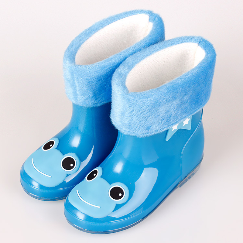 2016 Children Cute Frog Cat Rainboots Kids Antiskid Wellies with Cotton Velvet lining Boys Girls Autumn Winter Warm Rain Boots