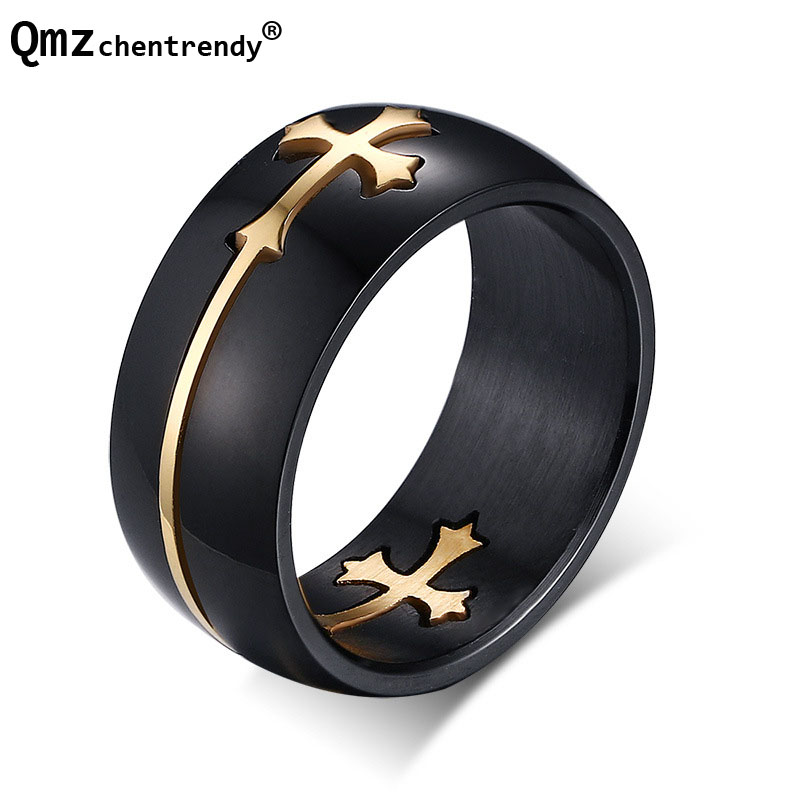 High quality HIP HOP 316L Stainless Steel Mens Black Steel Punk Rapper Cross Finger Ring Size 7, 8,9 10,11,12,13 Free shipping