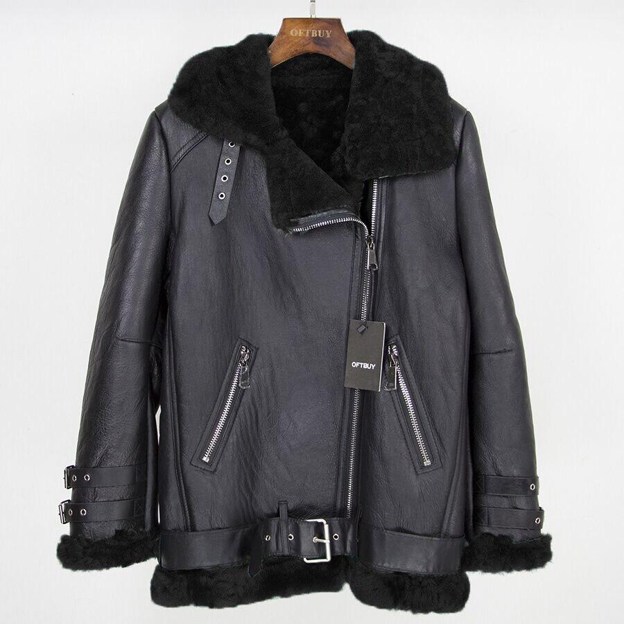 OFTBUY 2019 marque Double-face fourrure survêtement veste d'hiver femmes Parka en cuir véritable mérinos mouton véritable fourrure manteau Streetwear nouveau