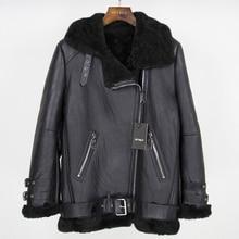 OFTBUY 2020 Brand Double faced Fur Outerwear Winter Jacket Women Parka Genuine Leather Merino Sheep Real Fur Coat Streetwear New