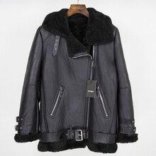 OFTBUY 2020 marka çift yüzlü kürk giyim kış ceket kadın Parka hakiki deri merinos koyun gerçek kürk ceket Streetwear yeni
