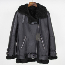 Oftbuy 2020 marca de pele dupla face outerwear inverno jaqueta feminina parka couro genuíno merino ovelha casaco de pele real streetwear novo
