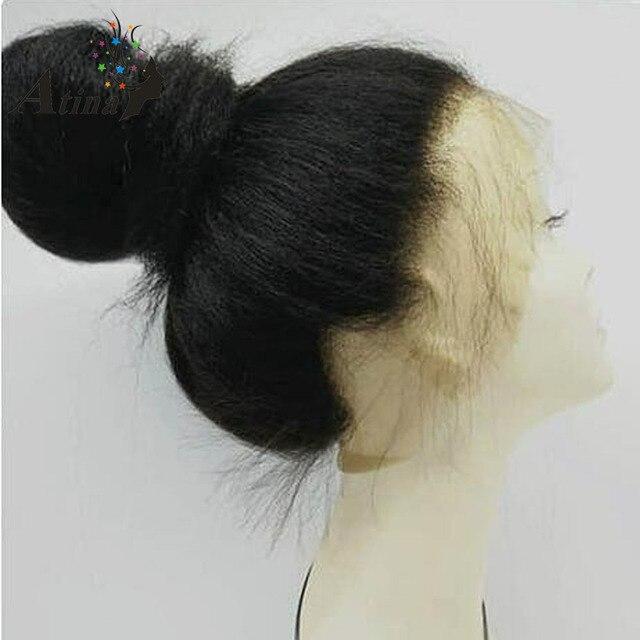 Peluca Frontal de encaje rizado 360 peluca Frontal Pre desplumada 150 pelucas de pelo humano Frontal de encaje de densidad con pelo de bebé para negro las mujeres Atina Remy