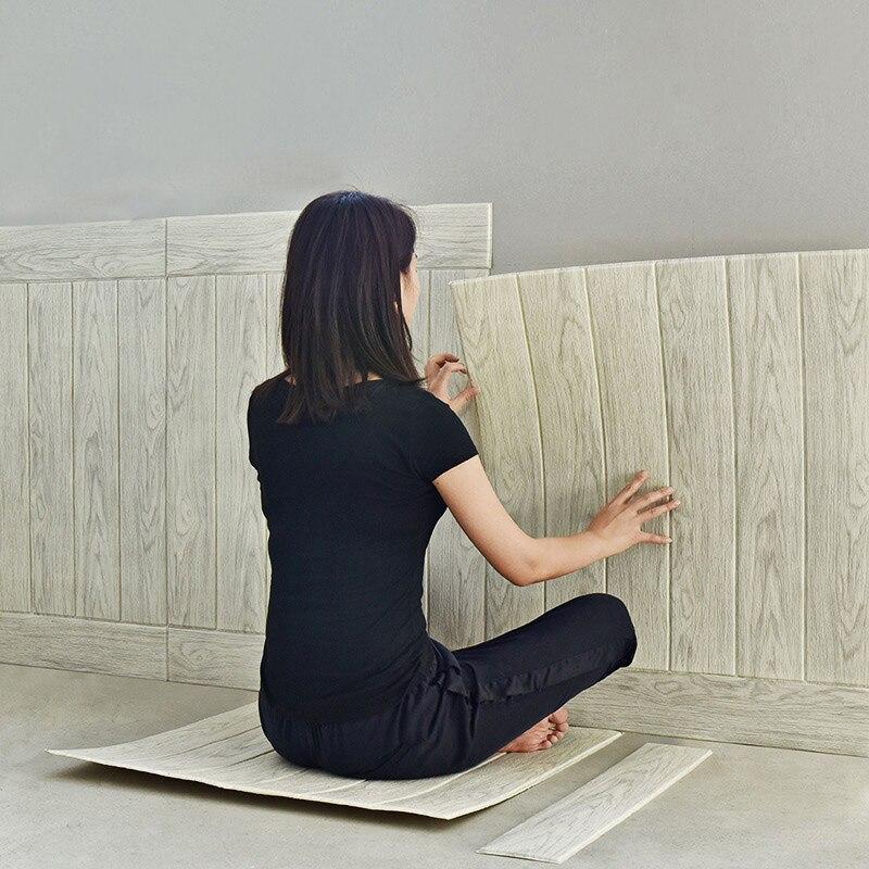 Bricolage auto-adhésif 3d papier peint étanche à l'eau Woodgrain 3d mur autocollant Tv fond Mural chambre autocollants décoratifs