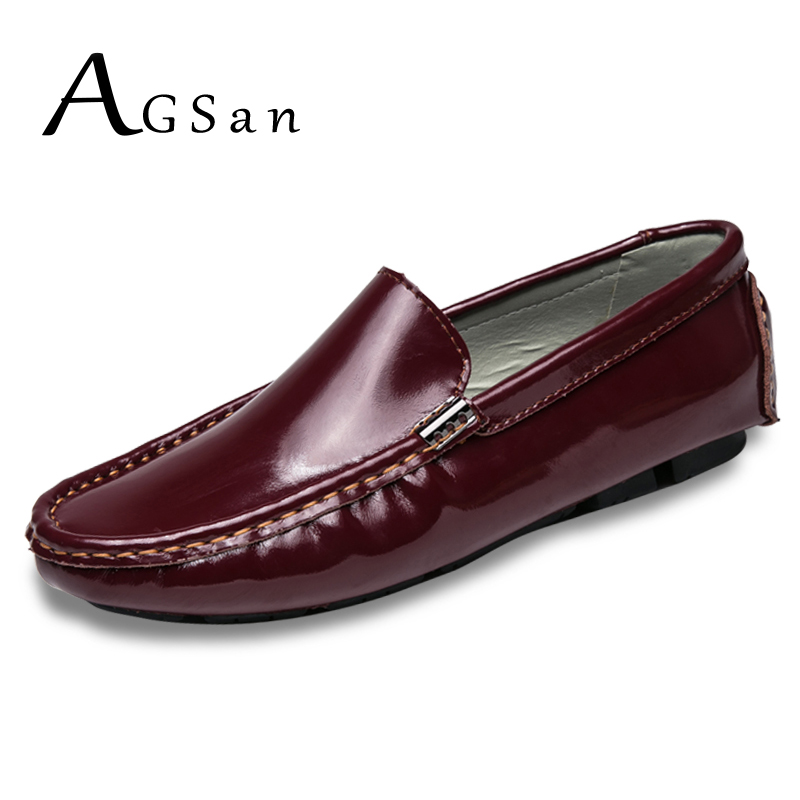 где купить AGSan Men Spring Fashion Loafers Split Leather Driving Shoes Moccasins Burgundy Black White Mens Loafers Classic Big Size 38-47 по лучшей цене