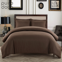 Puredown Brand Solid Bedding Sets Polyester Bedroom Pillowcase Duvet Cover No Sheet High Quality Comforter Bedding Sets Bedset