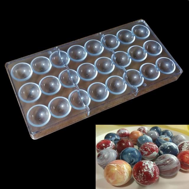 Esfera Semi Shell Diamante Cubo Molde de Chocolate PC Molde Barra de Chocolate Meia Bola De Doces de Plástico Fabricante de Moldes Bakeware Retângulo