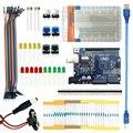 Free shipping Landzo arduino 13 in 1 kit new Starter Kit UNO R3 mini Breadboard LED jumper wire button for arduino compatile