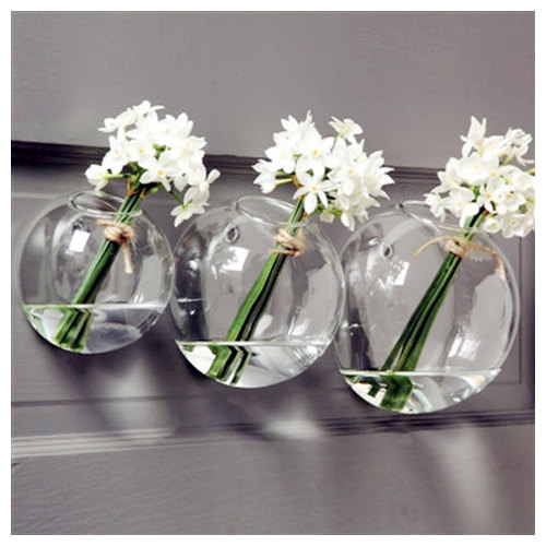 3pcsset Mixed Sizes Bubble Terrariumsindoor Wall Glass Vasefish