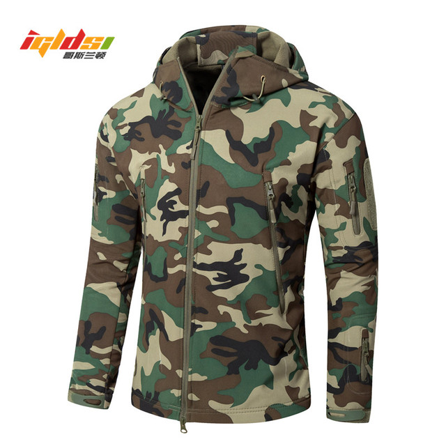 5bbfac864ebb7 IGLDSI Shark Skin V5 Soft Shell Tactical Military Jacket Men Waterproof  Winter Fleece Coat Army Clothes Camouflage Jacket XS-3XL