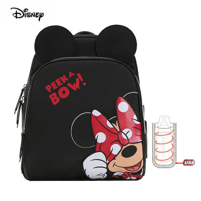 Disney mère sac USB biberon chauffant bébé sac à dos grande capacité mode multifonctionnel maternité sac à dos pour voyage Minnie