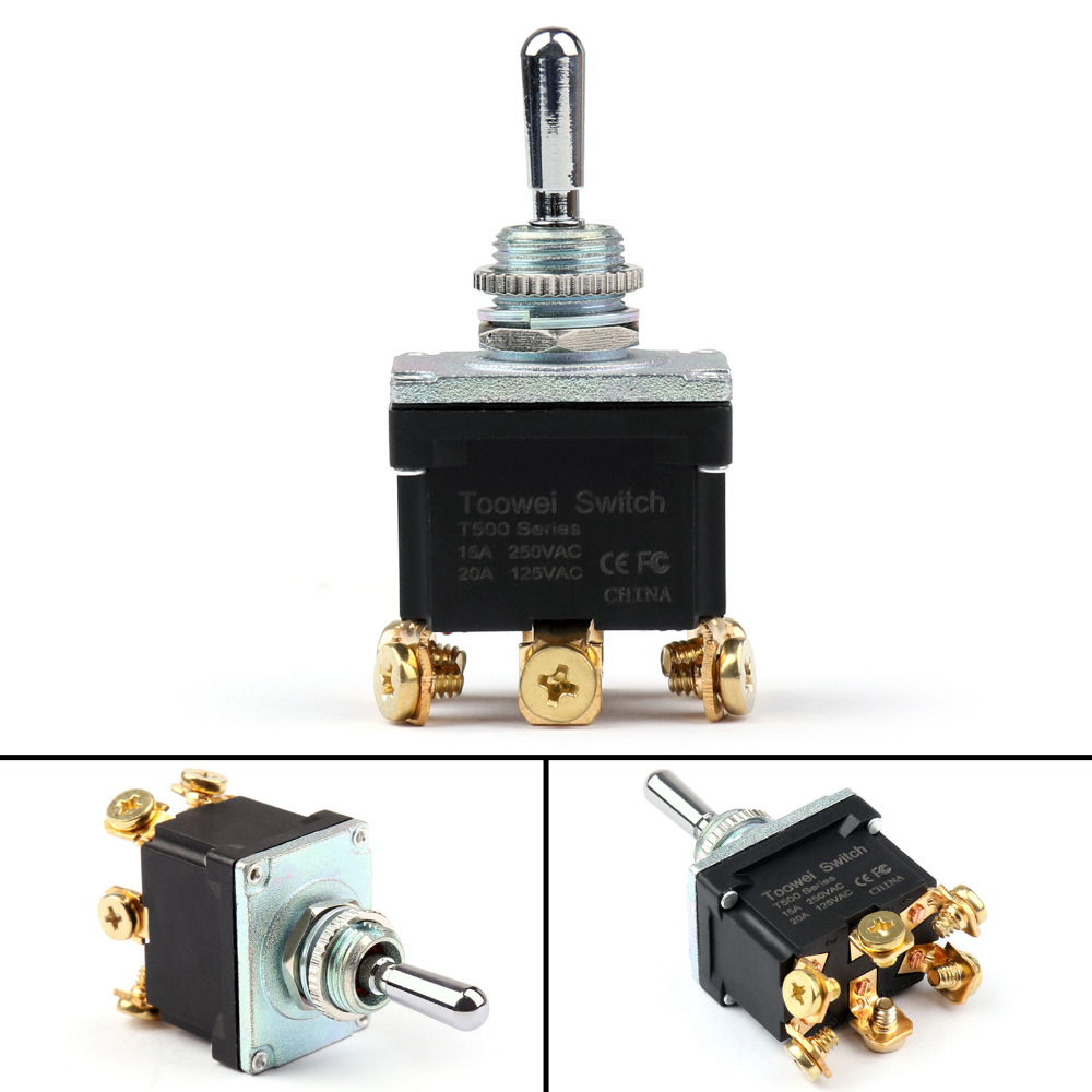 цена на Areyourshop Toggle Switch Waterproof Toggle Switch 3 Terminal 6Pin (ON)-OFF-ON SPDT 15A 250V 1/4PCS New Arrival Switches