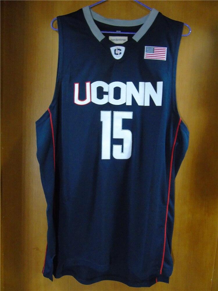 Prix pour Aembotionen Kemba Walker #15 UCONN Blanc/Bleu Rétro Régression Piqué Basket-Ball Jersey Cousu Camisa USA Drapeau