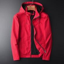 Minglu 봄과 가을 새로운 빨간 후드 자 켓 Hight 품질 캐주얼 남자 패션 슬림 맞는 자 켓 코트 플러스 크기 M 2XL 3XL 4XL