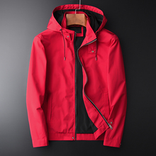 Minglu Spring And Autumn New Red Hooded Jacket Hight Quality Casual Mens Fashion Slim Fit Jacket Coat Plus Size M 2XL 3XL 4XL
