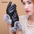 Fashion Women Winter Warm PU Leather Gloves High Quality Soft Black Faux Fur Mittens for Girls Elegant Solid Glove Free Size