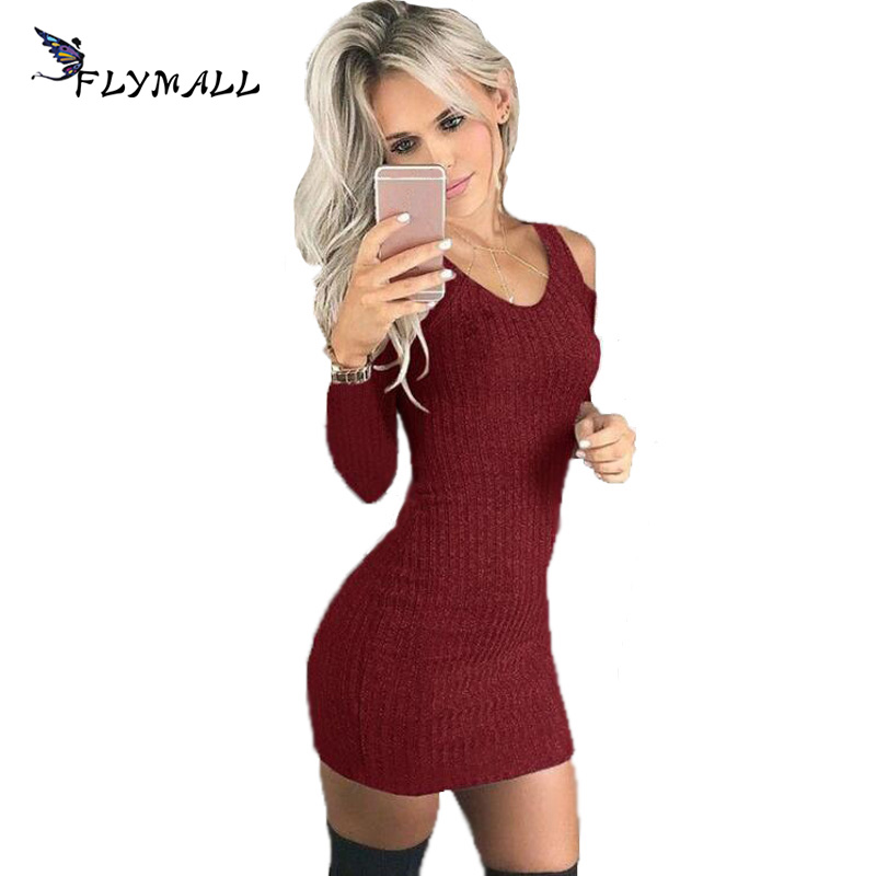 FLYMALL Women Winter Sweater Dress Off Shoulder 2018 Bodycon Solid Slim Sexy Elastic Cotton Mini Party Dresses Vestidos Clubwear