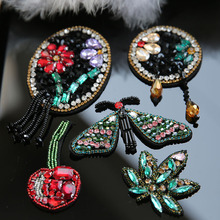 3D Handmade rhinestone beaded patches for clothing DIY sew on animals dragonfly embroidery applique decorative sequin Parches dragonfly embroidery sequin skirt