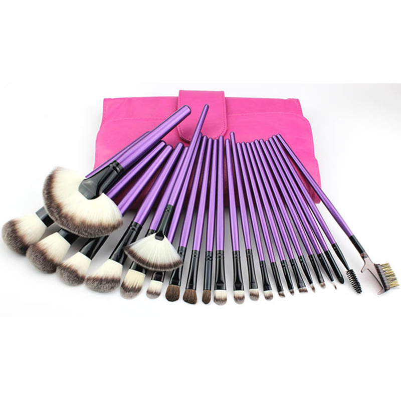 24 Pcs Makeup Brushes Set Blusher Eyeshadow Powder Foundation Eyebrow Lip Make up Brush with Makeup Brush Bag pincel maquiagem 12pcs lot professioal makeup brush set with black leather case eyeshadow eyebrow sponge make up brushes 2 color makeup brushes