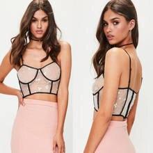 3504b8fd3a53b Internet Celebrity Sexy Women Floral Mesh Sheer See-through Crop Top  Sleeveless Vest Party Clubwear T Shirt
