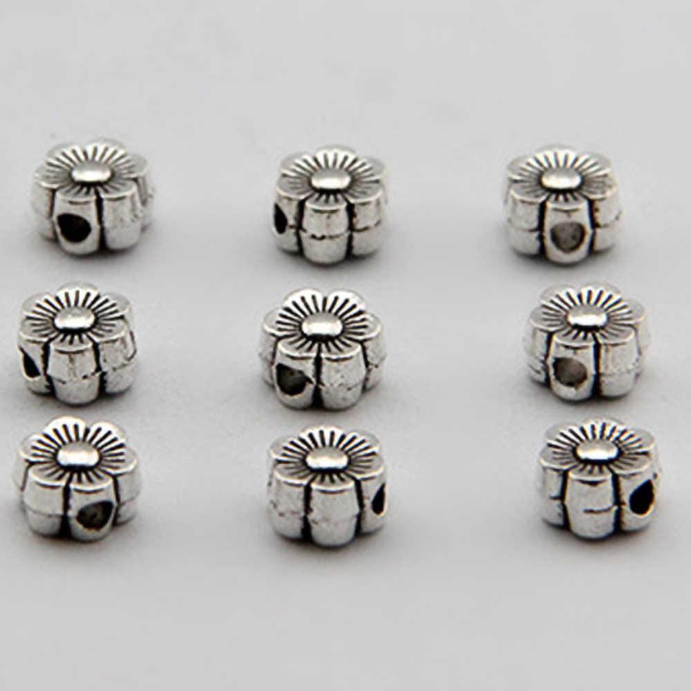 50 unids/lote 6MM cuentas de Metal de tono plateado con forma de flor cuentas espaciadoras sueltas para hacer joyas accesorios de pulsera 804 artesanales hechos a mano
