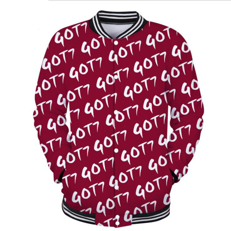 KPOP GOT7 3D Hoodie For Men Women Zip-Up College Baseball Jacket GOT 7 Album Letter Print Harajuku Sweatshirt Hip Hop Clothing