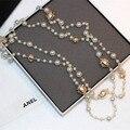 Coreano Mulheres Camisola Cadeia Multi-camada número 5 pingente de Pérola Colares jóias cc