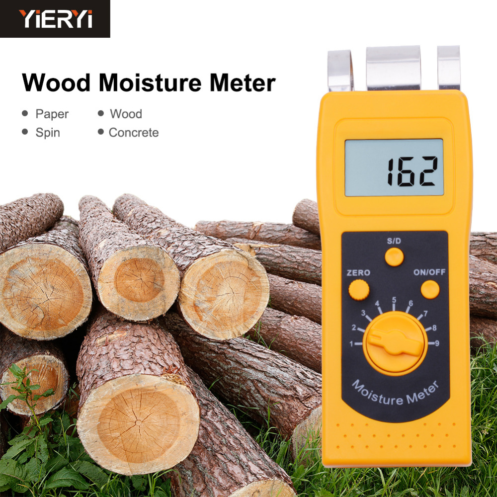 yieryi DM200W Portable Digital Wood Moisture Tester With 4 Digital LCD Display For Wooden High Precision Analyzer Wood Tool mc 7806 digital moisture analyzer price with pin type cotton paper building tobacco moisture meter