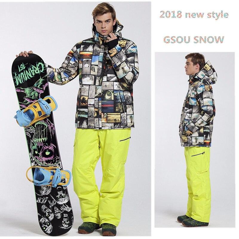 Gsou снег 10 К зима лыжный костюм для мужчин лыжная куртка Мотобрюки Водонепроницаемый сноуборд Наборы для ухода за кожей открытый лыжный спор...