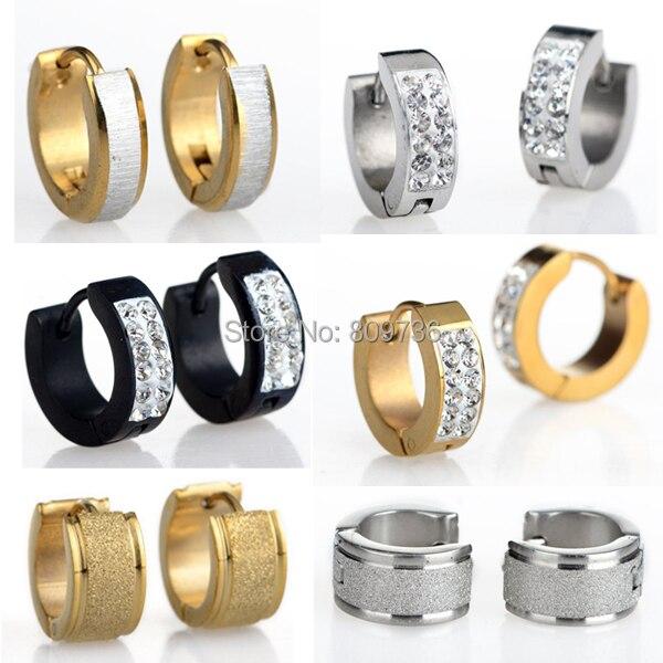 1pair Crystal 316l Stainless Steel Hoop Huggie Earrings Gauges Hot Punk Mens Women Gold Silver Plated